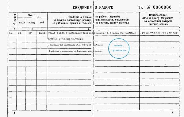 Запись в трудовой книжке при увольнении при ликвидации предприятия